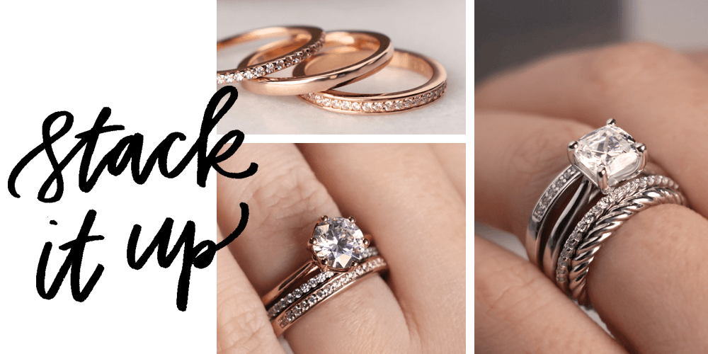 a85d386eb Go beyond a two ring set and add another band or three. Get creative and  create your personal look. Some people add a ring to the ...