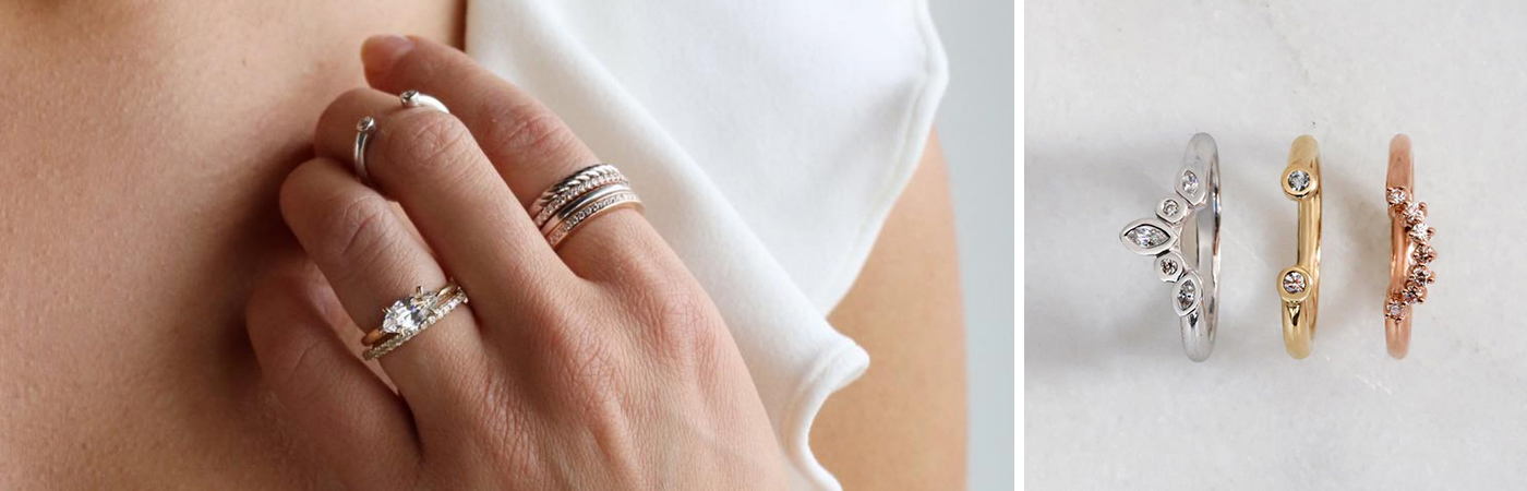 Multiple thin wedding bands stacked together. Three nesting bands in rose, yellow and white gold.