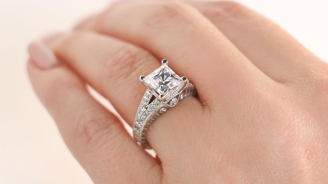 8f14cb175 Valencia Princess Cut Engagement Ring from Diamond Nexus