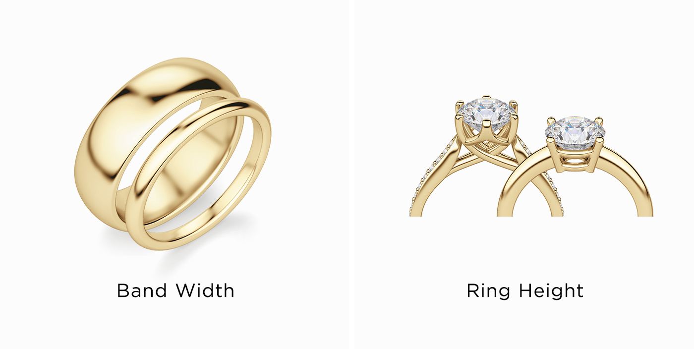 Two bands shown with different shank widths and two engagement rings with different setting heights.