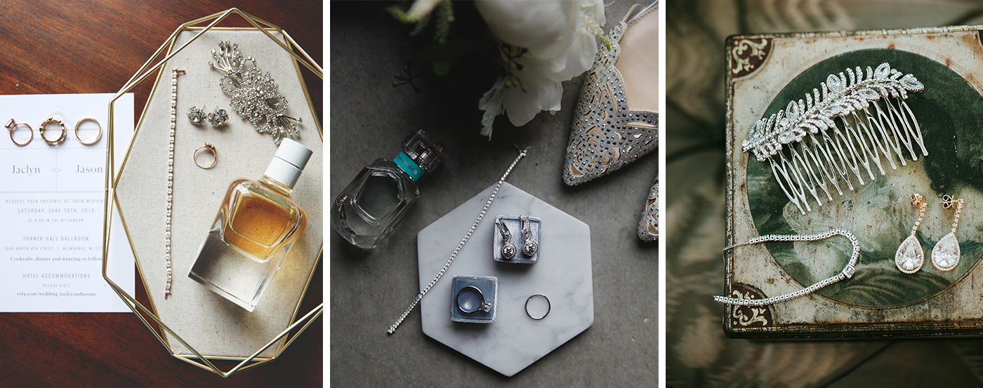A bird's eye view of different wedding day accessories.
