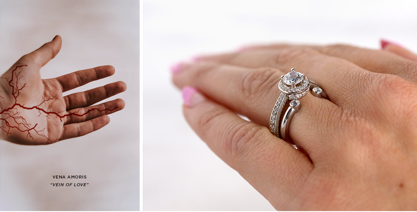 A Diamond Nexus wedding set shown on a ring finger: the vein of love.