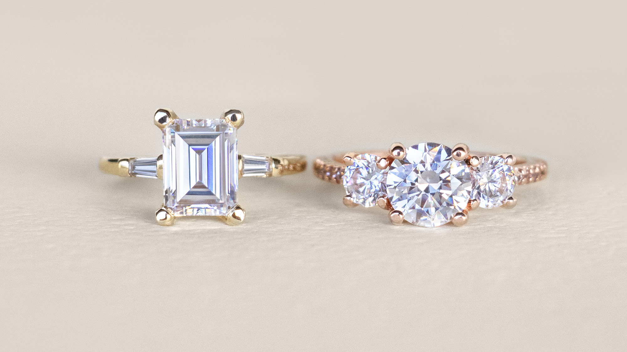 Three stone Diamond Nexus engagement rings featured with different stone shapes.