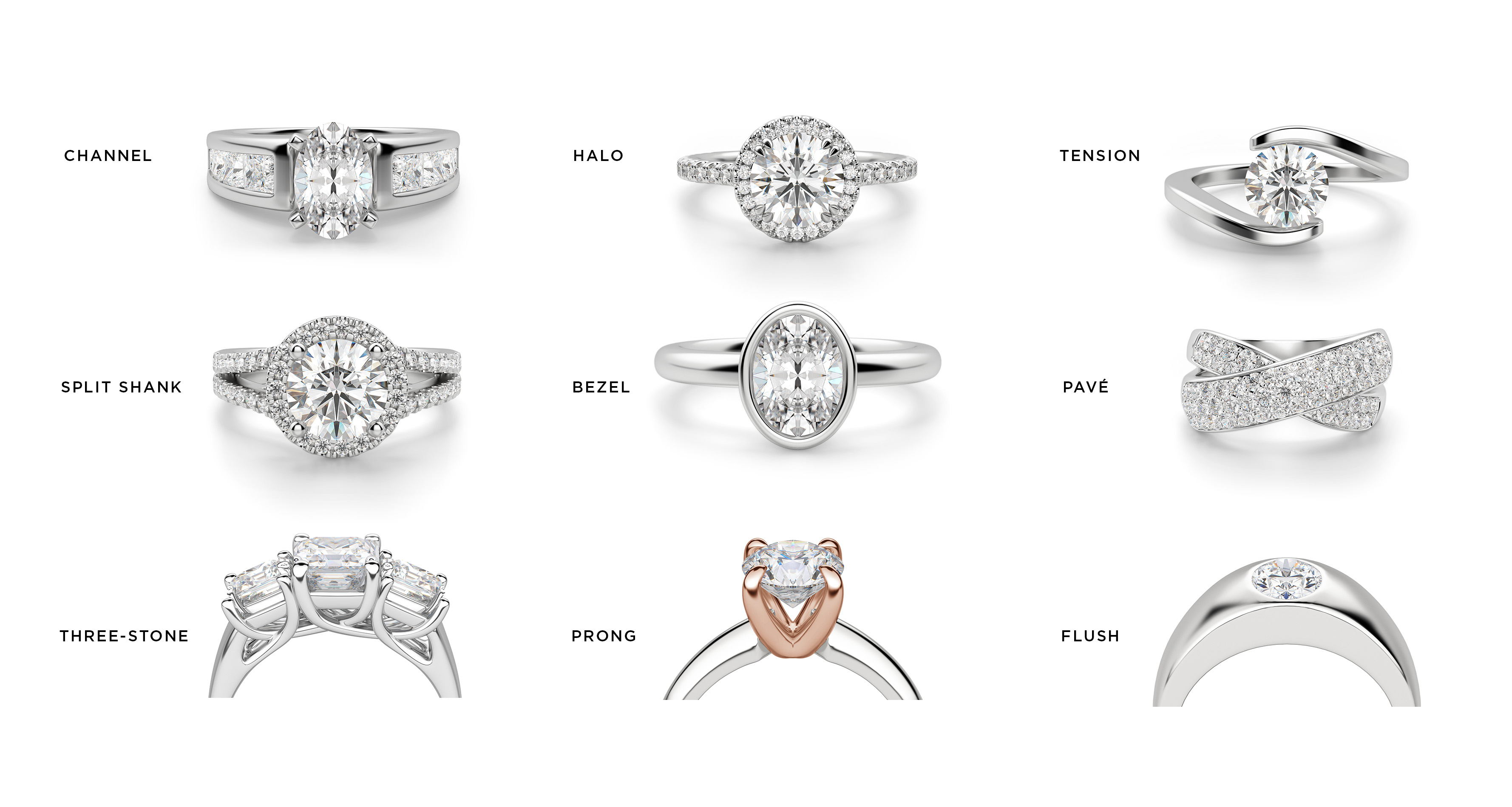 Examples of different engagement ring setting options.