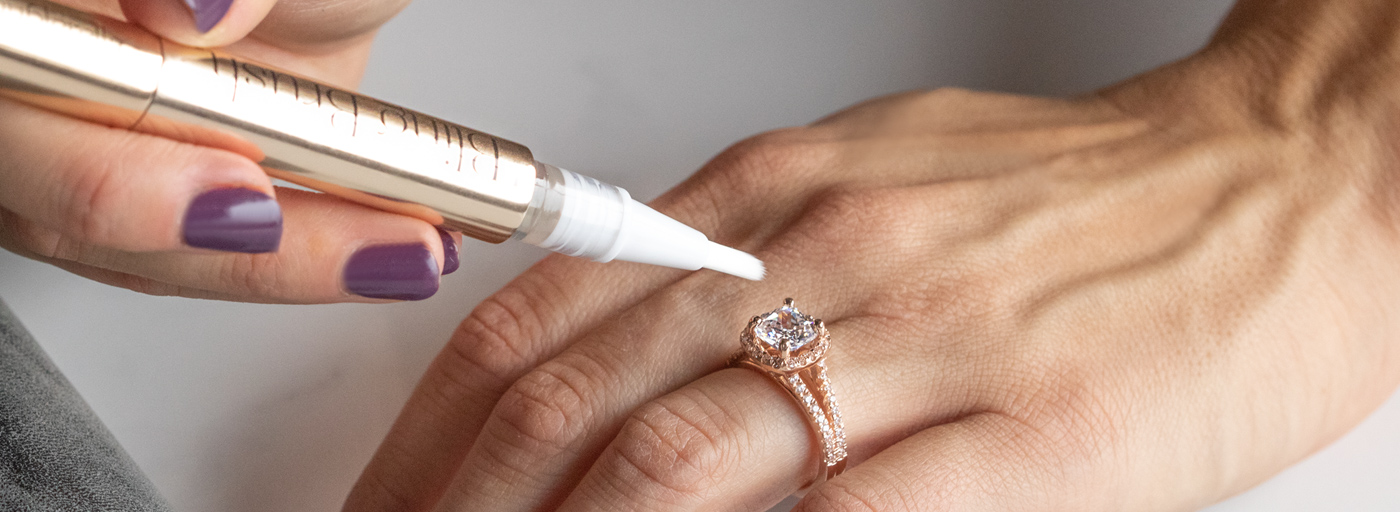 A Diamond Nexus engagement ring being cleaned with special jewelry cleaner