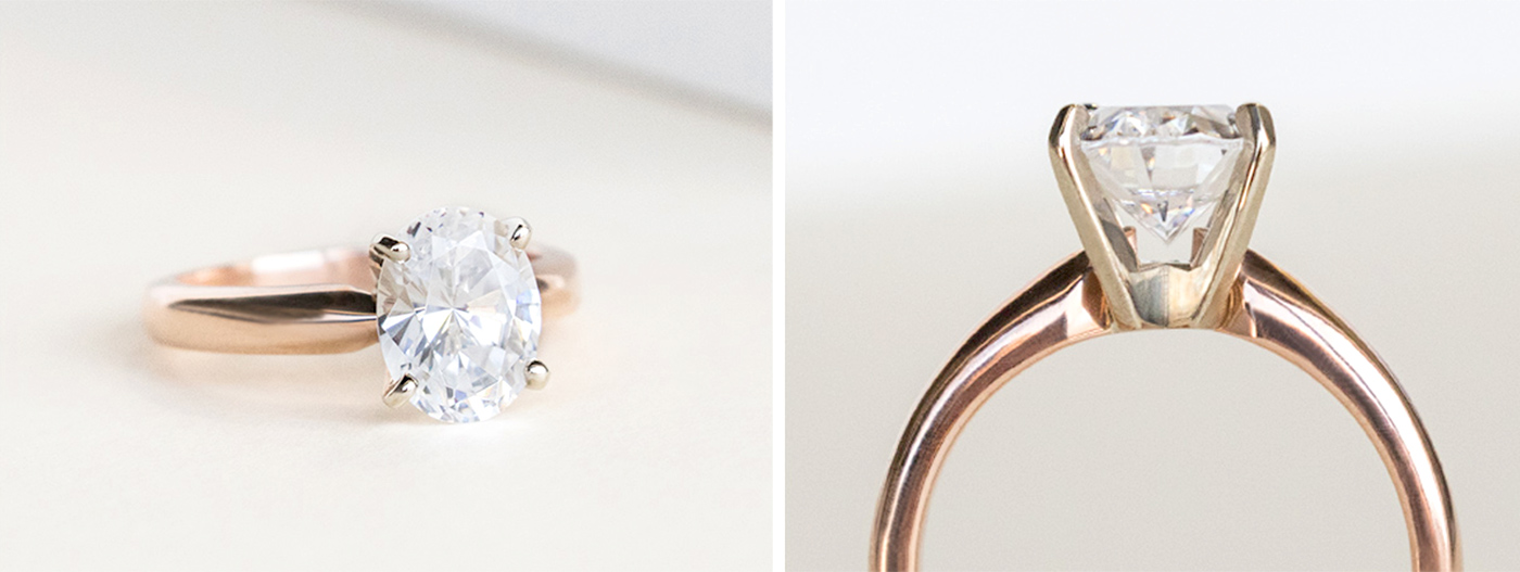 A yellow gold solitaire engagement ring in a peg head setting