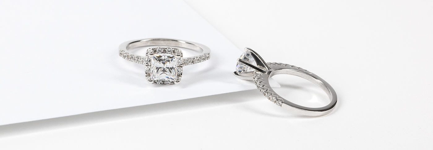 Diamond Nexus engagement rings featuring lab created diamond simulants