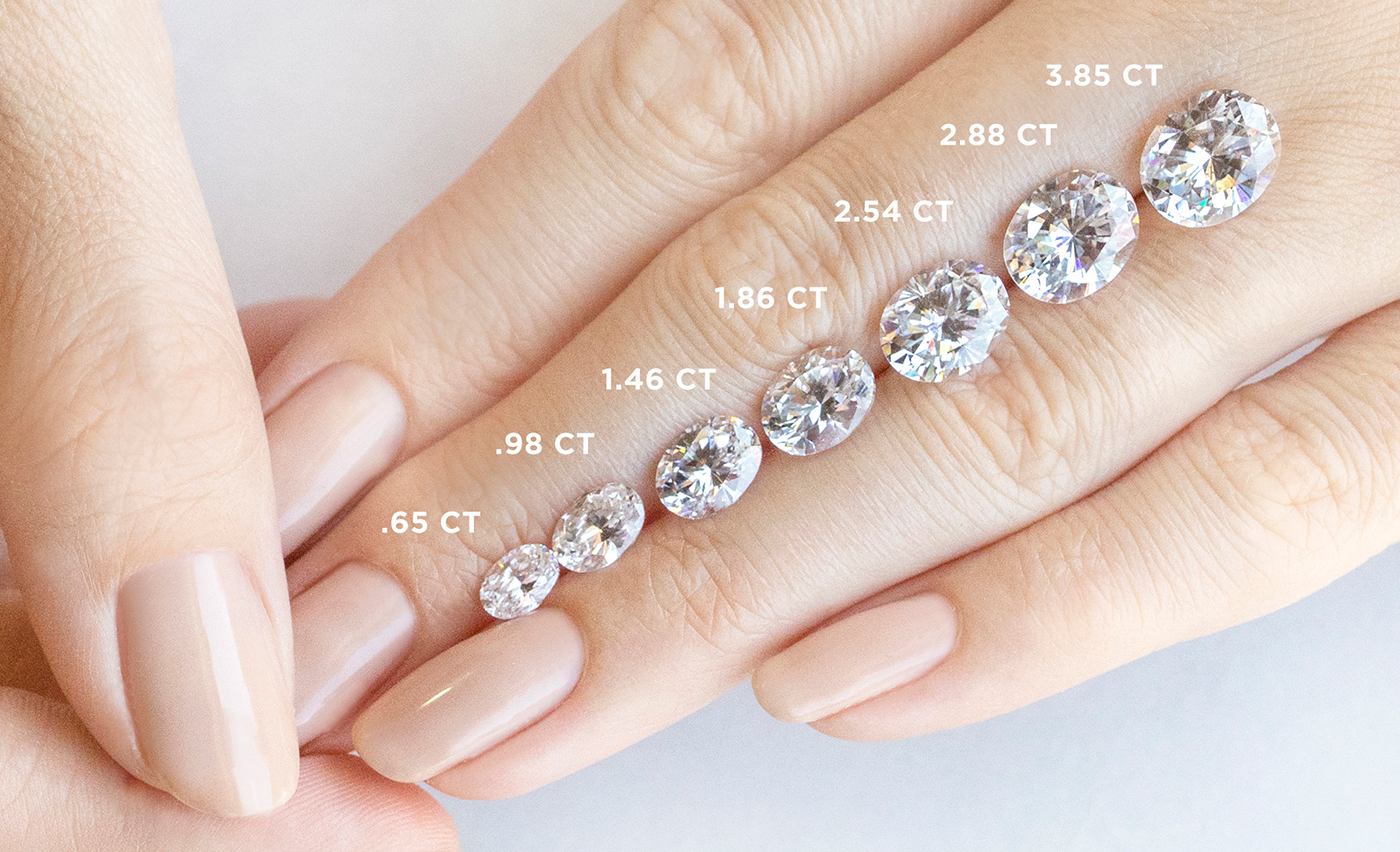 Oval cut Nexus Diamond alternatives positioned on a hand to show various carat weights.