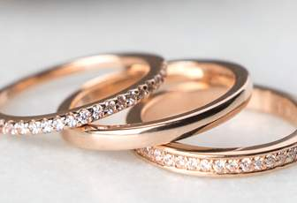 Three diamond nexus wedding bands